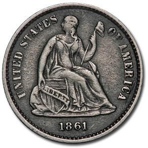 1861 Liberty Seated Half Dime XF