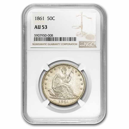 1861 Liberty Seated Half Dollar AU-53 NGC