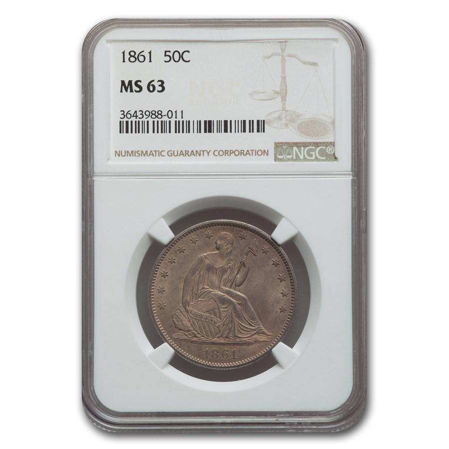1861 Liberty Seated Half Dollar MS-63 NGC