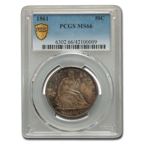 1861 Liberty Seated Half Dollar MS-66 PCGS