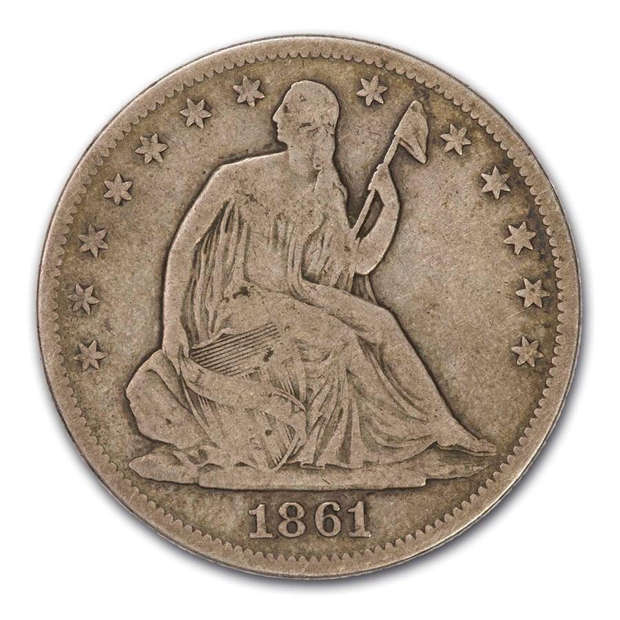 1861 Liberty Seated Half Dollar VG