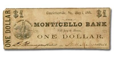 1861 Monticello Bank, Charlottesville, VA $1.00 VA-45 Fine