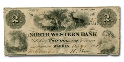 1861 North Western Bank ,Warren, PA $2.00 PA-670, Fine UNLISTED