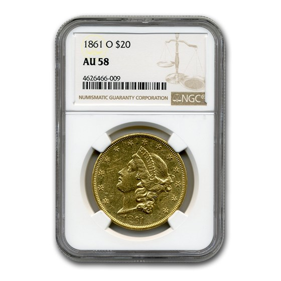 1861-O $20 Liberty Gold Double Eagle AU-58 NGC