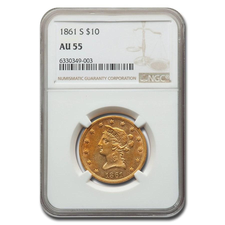1861-S $10 Liberty Gold Eagle AU-55 NGC