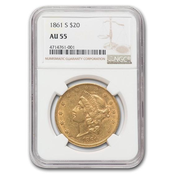 1861-S $20 Liberty Gold Double Eagle AU-55 NGC