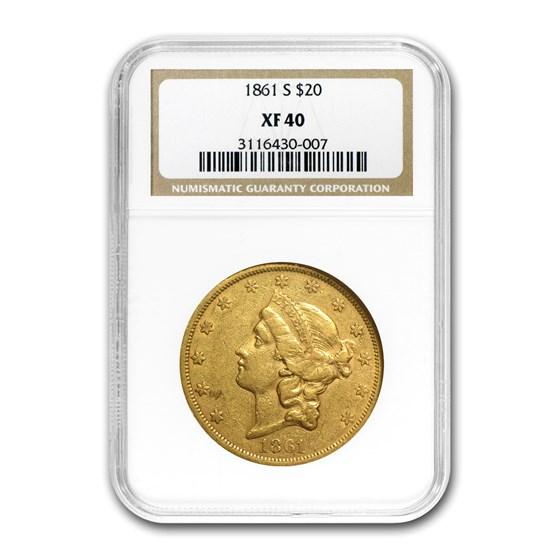 1861-S $20 Liberty Gold Double Eagle XF-40 NGC
