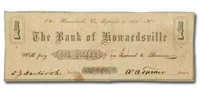 1861 The Bank of Howardsville, VA $1.00 VA-105 Fine