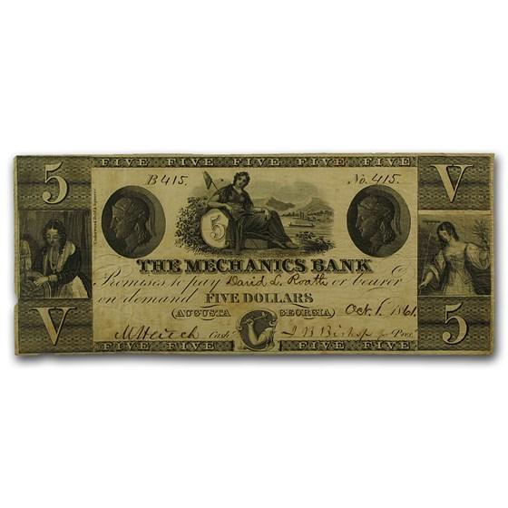 1861 The Mechanics Bank of Augusta, GA $5.00 VF