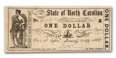 1861 The State of North Carolina $1.00 Cr#32b XF