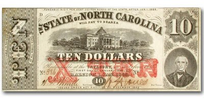 1861 The State of North Carolina $10.00 Cr#122 XF