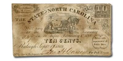 1861 The State of North Carolina $.10 Cr#114 VF