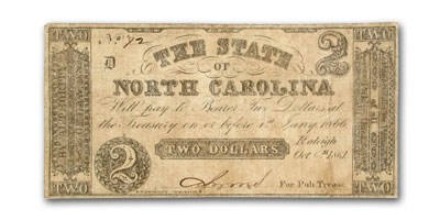 1861 The State of North Carolina $2.00 Cr#13 VF