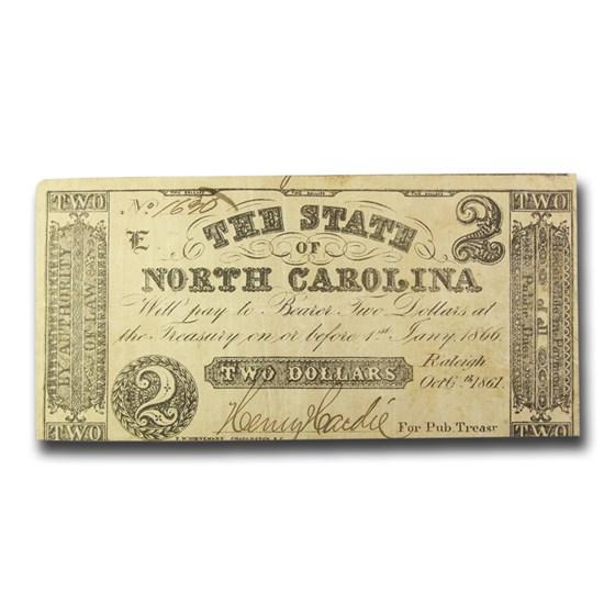 1861 The State of North Carolina $2.00 Cr#5 VF