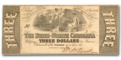 1861 The State of North Carolina $3.00 Cr#125 XF