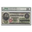 1862 $1.00 Legal Tender Salmon P. Chase AU-58 PMG