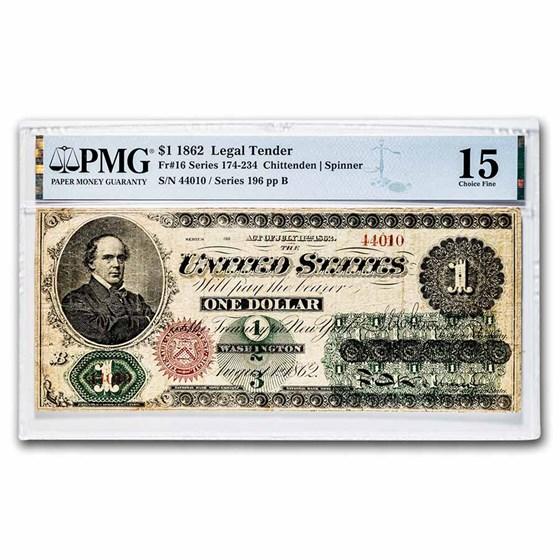 1862 $1.00 Legal Tender Salmon P. Chase CH F-15 PMG (Fr#16)