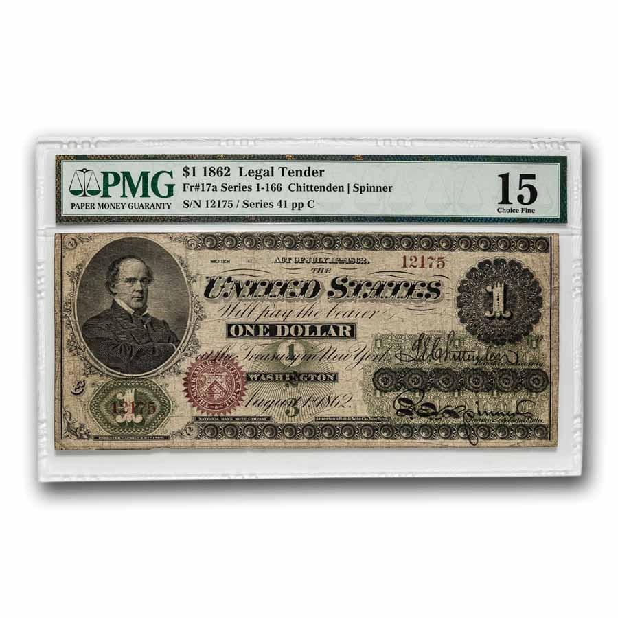 1862 $1.00 Legal Tender Salmon P. Chase Choice F-15 PMG (Fr#17A)