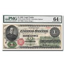 1862 $1.00 Legal Tender Salmon P. Chase CU-64 EPQ PMG