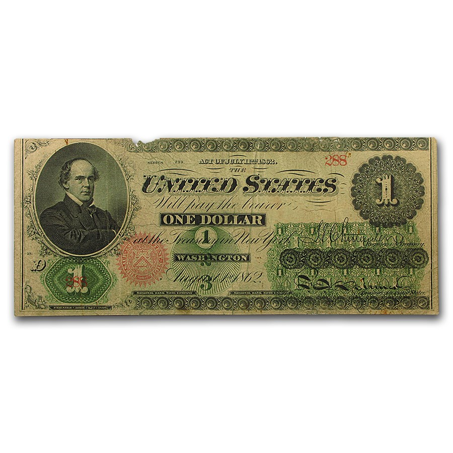 1862 $1.00 Legal Tender Salmon P. Chase Fine