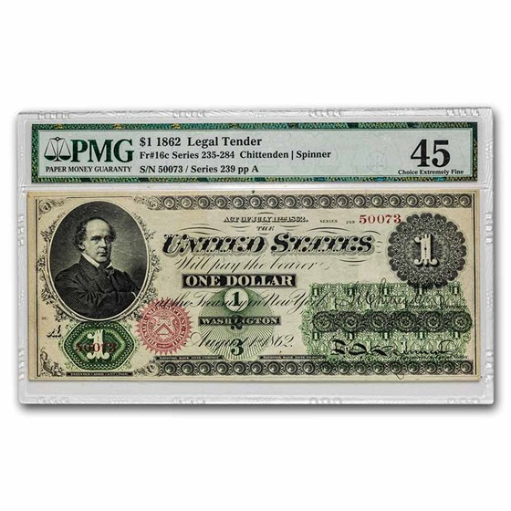 1862 $1.00 Legal Tender Salmon P. Chase XF-45 PMG (Fr#16C) Repair