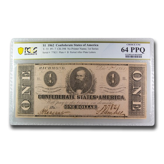 1862 $1.00 (T-55) Clement C. Clay CU-64 PPQ PCGS