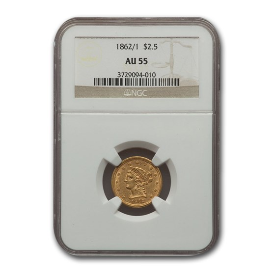 1862/1 $2.50 Liberty Gold Quarter Eagle AU-55 NGC