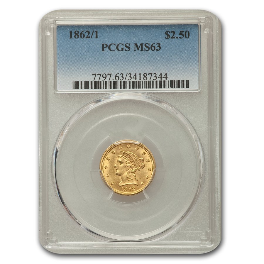 1862/1 $2.50 Liberty Gold Quarter Eagle MS-63 PCGS