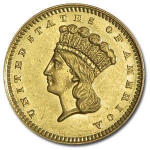 1862 $1 Indian Head Gold Dollar AU