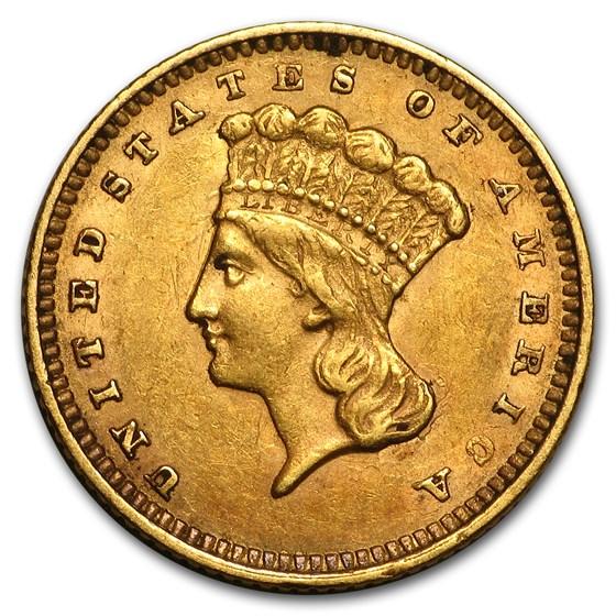 1862 $1 Indian Head Gold Dollar XF