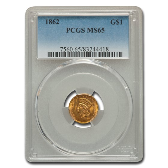 1862 $1 Indian Head Gold MS-65 PCGS