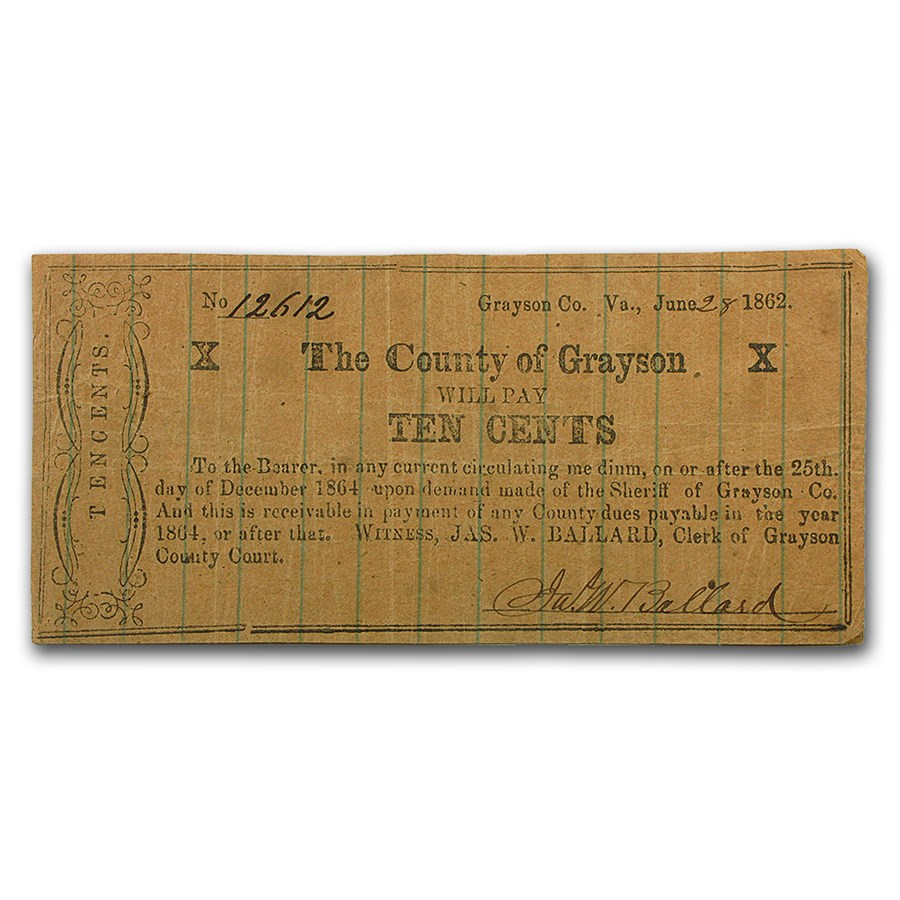 1862 10 Cents Grayson County Virginia VG (Unusual Paper)