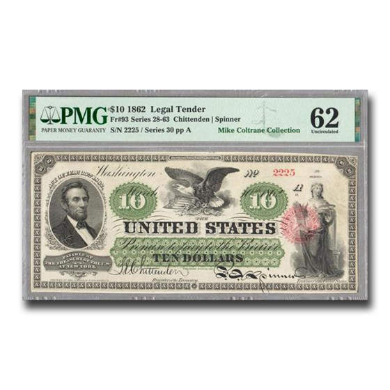 1862 $10 Legal Tender Abraham Lincoln CU-62 PMG (Fr#93)