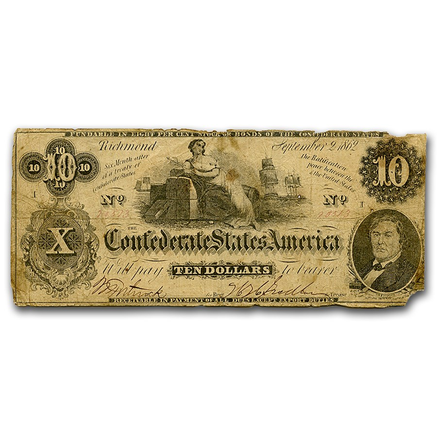 1862 $10 (T-46) Ceres on Cotton Bales VG