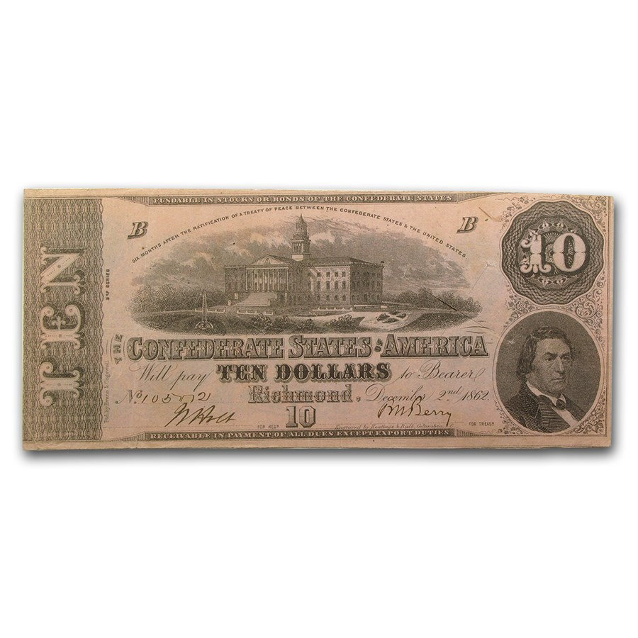 1862 $10 (T-52) Capitol @ Columbia, SC XF (Cancelled)