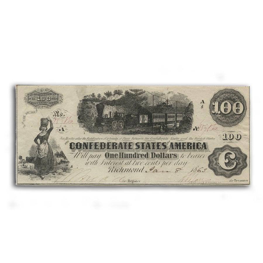 1862 $100 (T-40) Train Diffused Steam AU