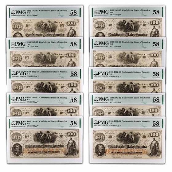 1862 $100 (T-41) Slaves/Cotton AU-58 PMG 10 Consecutive