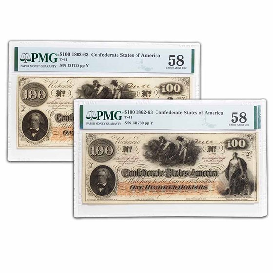 1862 $100 (T-41) Slaves/Cotton AU-58 PMG 2 Consec