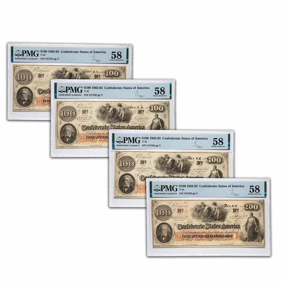 1862 $100 (T-41) Slaves/Cotton AU-58 PMG 4 Consecutive