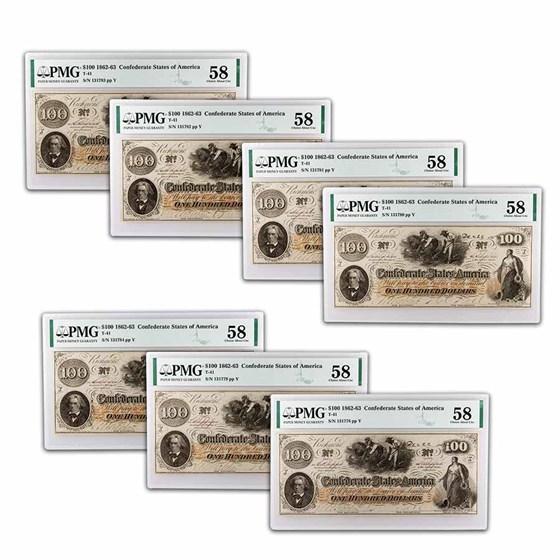 1862 $100 (T-41) Slaves/Cotton AU-58 PMG 8 Consecutive