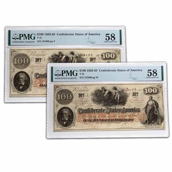1862 $100 (T-41) Slaves/Cotton AU-58 PMG Change Over
