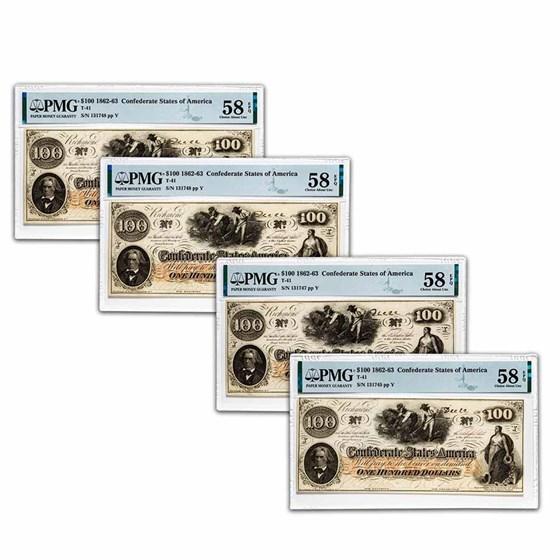 1862 $100 (T-41) Slaves/Cotton AU-58 PMG EPQ 4 Consec