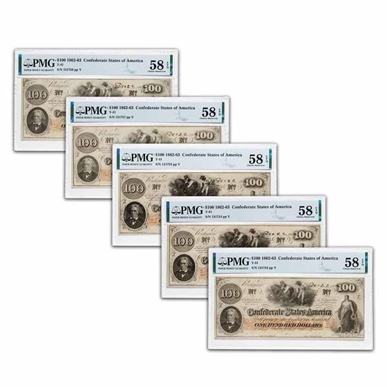 1862 $100 (T-41) Slaves/Cotton AU-58 PMG EPQ (5 Consec
