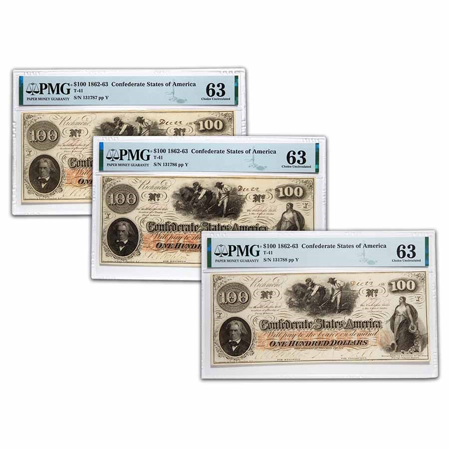 1862 $100 (T-41) Slaves/Cotton CH CU-63 PMG 3 Consec