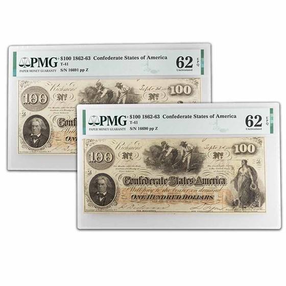 1862 $100 (T-41) Slaves/Cotton CU-62 PMG EPQ 2 Consec