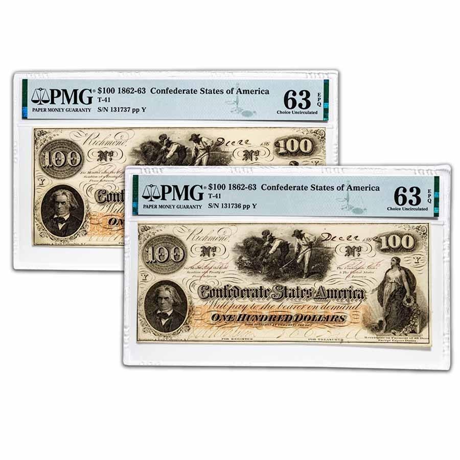 1862 $100 (T-41) Slaves/Cotton CU-63 EPQ PMG (2 Consecutive)