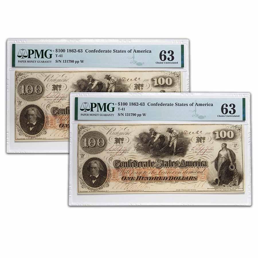 1862 $100 (T-41) Slaves/Cotton CU-63 PMG (2 Consec )