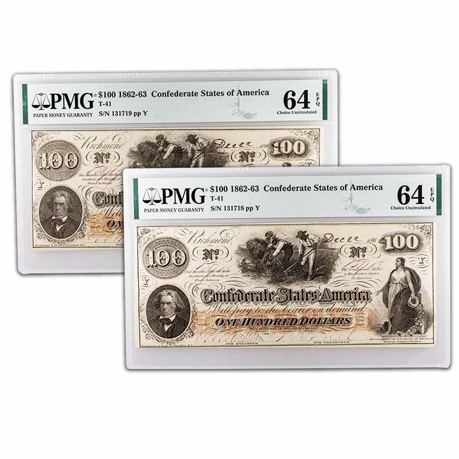 1862 $100 (T-41) Slaves/Cotton CU-64 EPQ PMG (2 Consecutive)