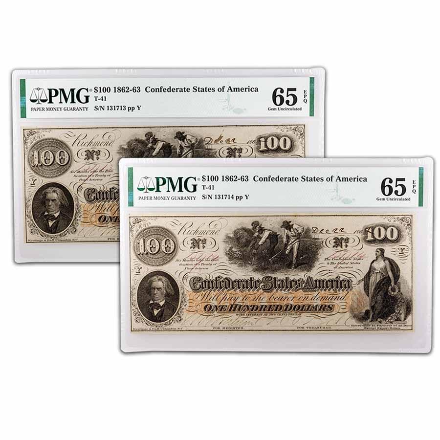 1862 $100 (T-41) Slaves/Cotton CU-65 EPQ PMG 2 Consec