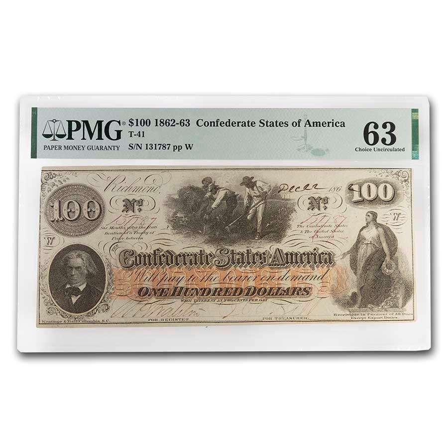 1862 $100 (T-41) Slaves Hoeing Cotton CU-63 PMG (Stain)